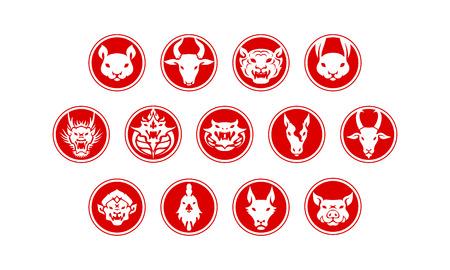 Red circle Chinese zodiac symbol vector