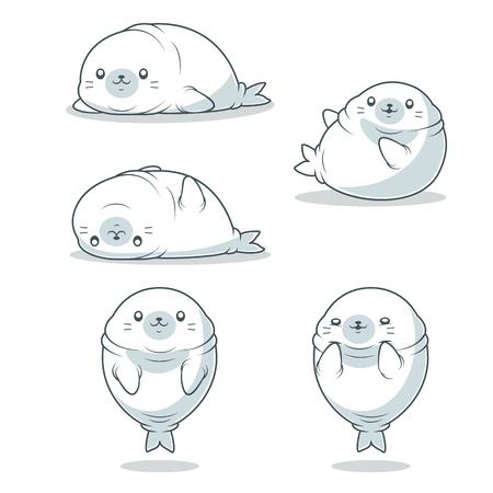 kawaii fat seal vector