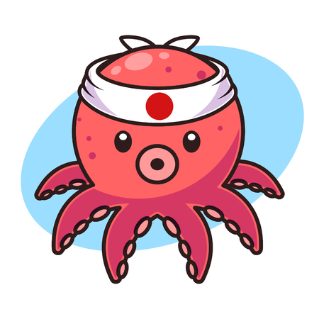Cute octopus with japanese headband isolated vector