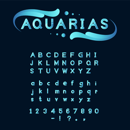 blue Aqua vector font