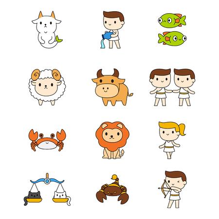 Cute zodiac symbol vecter