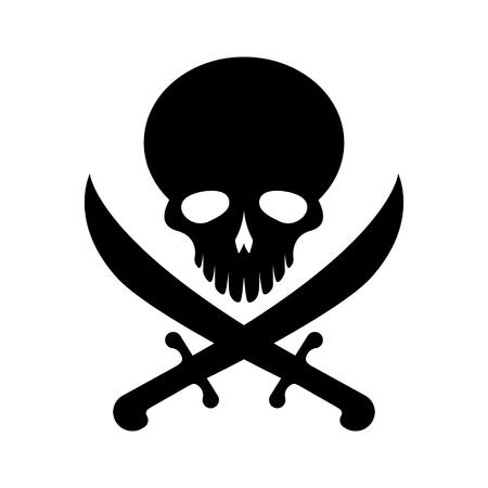 Black pirate skull symbol vector