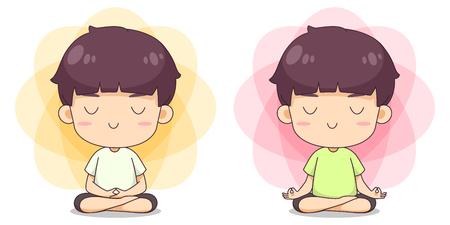 Cute boy do meditation pose vector cartoon Banco de Imagens - 123312338