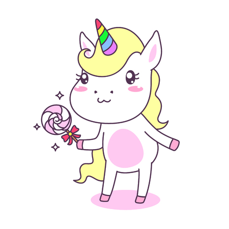 Cute and funny unicorn with lolipop candy  vector