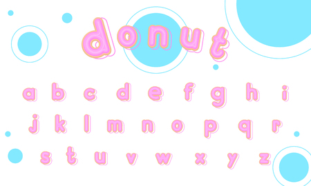 Sweet donut font lowercase vector