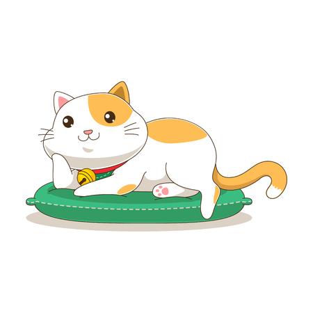 Cute orange sleeping cat vector illustration