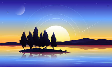 Beautiful island in lake landscape vector background