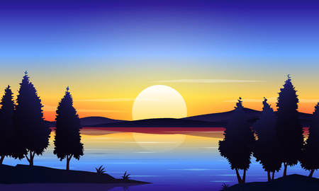 Beautiful dawn lake landscape vector background