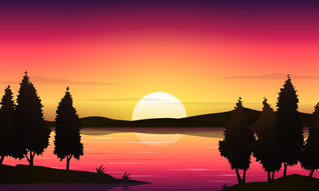 Beautiful sunset lake landscape vector background Banco de Imagens - 124683132
