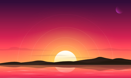 Sunset sky and  lake landscape vector background