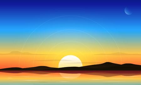 Dawn sky and lake landscape vector background Ilustração