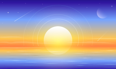Beautiful dawn paradise lake landscape vector background 일러스트