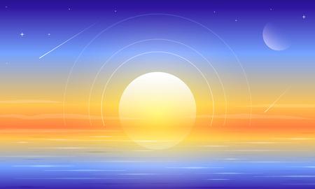 Beautiful dawn paradise lake landscape vector background Ilustração