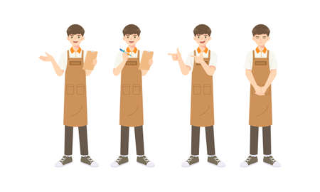 Collection of smart waiter or Assistant in Apron uniform, cartoon mascot character in many pose for vector illustration