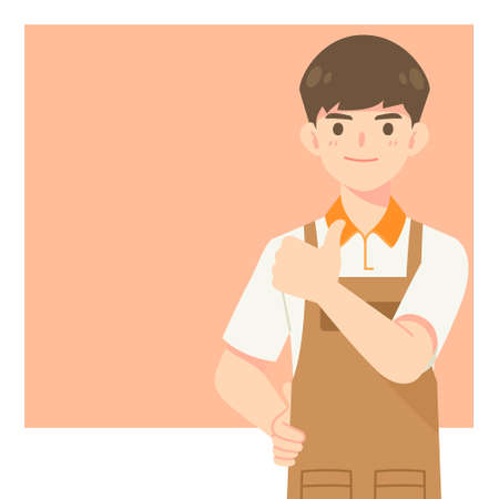 Handsome cafe waiter in apron uniform, cartoon mascot character in show thumb up pose for vector illustration