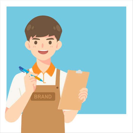 Handsome cafe waiter in apron uniform, cartoon mascot character for vector illustration