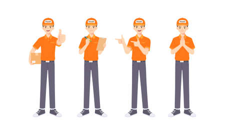 Collection of Delivery staff in uniform in many pose, cartoon mascot character for vector illustration