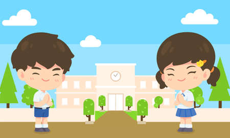 Boy and girl student in pay respect post, Kawaii Cartoon mascot character on school background vector illustration