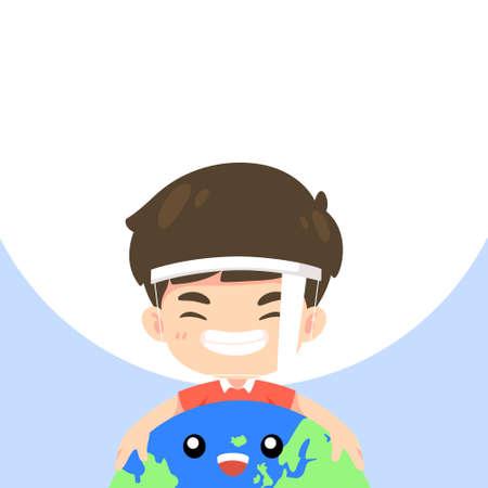 Cute boy hugging the world and smile, kawaii mascot characte for vector illustration