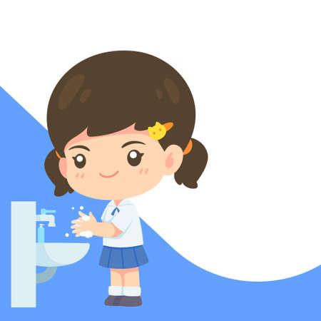 Cute girl in student uniform washing hand, Kawaii cartoon mascot character for world washing hand day concept vector illustration