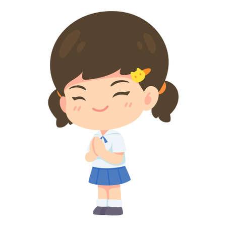 Girl student in pay respect post, Kawaii Cartoon mascot character vector illustration