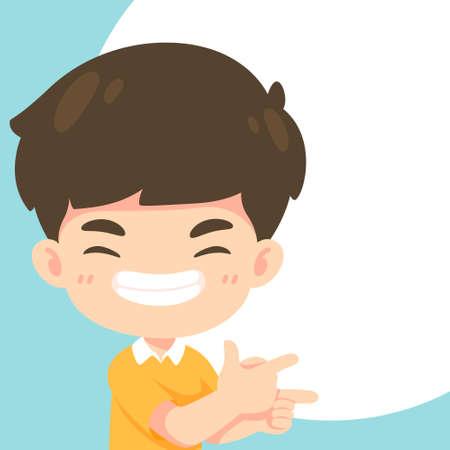 Cute boy in pointing pose, kawaii cartoon mascot character for vector illustration 일러스트