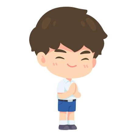Boy student in pay respect post, Kawaii Cartoon mascot character vector illustration 일러스트