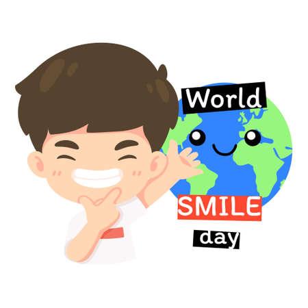 Kawaii cartoon character, Cute boy in world smile day concept vector illustration