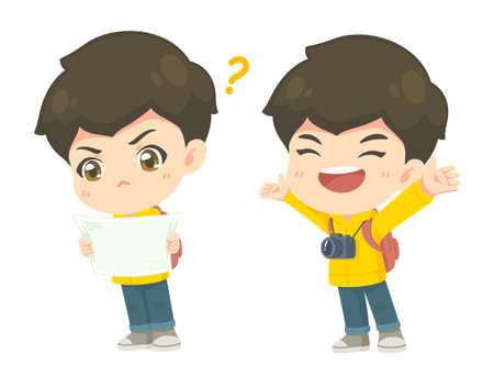 Collection of cute tourism boy in many pose, kawaii cartoon mascot character for vector illustration