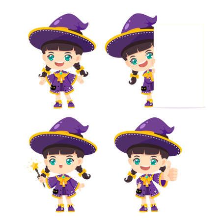 Collection of cute witch, kawaii mascot cartoon character use for halloween cocept, vector illustration