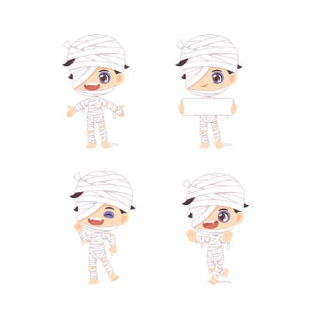 Set of cute mummy boy, kawaii mascot cartoon use for halloween concept,vector illustration