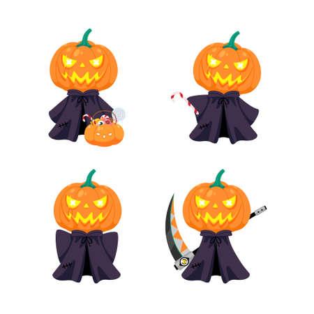 Set of cute pumpkin head character, mascot cartoon for halloween concept, vector illustration 일러스트