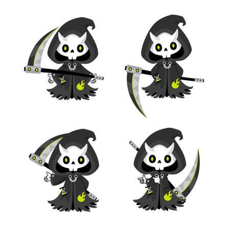 Set of cute Grim Reaper with scythe, kawaii mascot cartoon character use for halloween co ncept vector illustration 일러스트