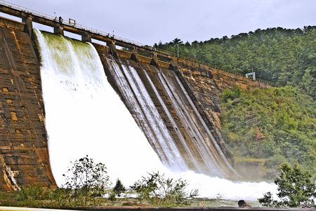 During a storm two flood gates were opened at this dam to control the lake level. photo