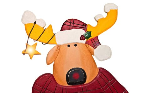 A cute Christmas reindeer with a star on his antlers. photo