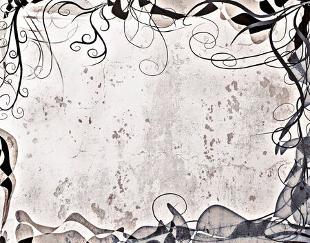 curlicue: A delicate border on paper with a grunge treatment.