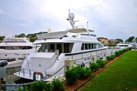 Large yacht at the dock. photo