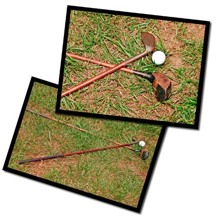 Two photos of antique wooden golf clubs on the ground. photo