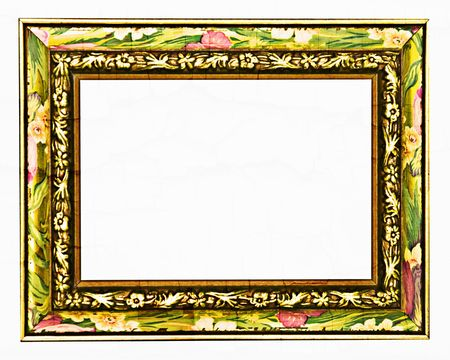 white trim: A bright picture frame with carved and painted flowers around the border. Stock Photo
