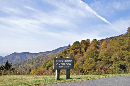 A sign on an observation point along the Blue Ridge Parkway. photo