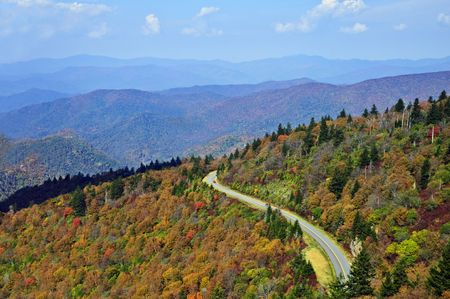 Early fall colors on the mountains in the Blue Ridge Parkway area. Stock Photo