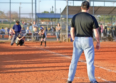 Cumming, GA, USA - March 31, 2010 - Action at home plate during a game in Forsyth County, Cumming GA, March 31, 2010, the Coal Mountain Lady Bulldogs vs the Central Green Vipers.