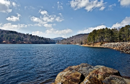 A view up Lake Glenville in North Carolina on a beautiful\ winter day.