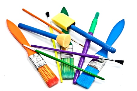 arts: Colorful paint brushes for arts and crafts.