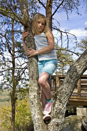 A cute young girl posing in a tree outdoors.
