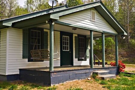 front porch: Front porch area of a small farmhouse. Stock Photo