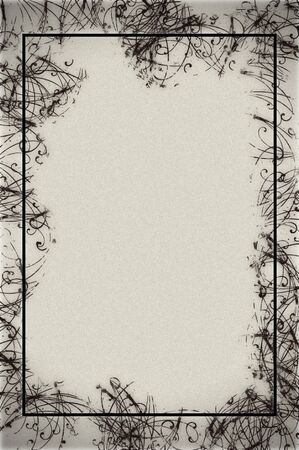 Abstract border design on textured paper in black and white.