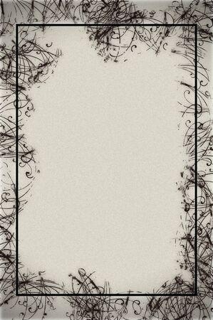 Résumé des frontières de conception sur papier texturé en noir et blanc. Banque d'images - 9946978