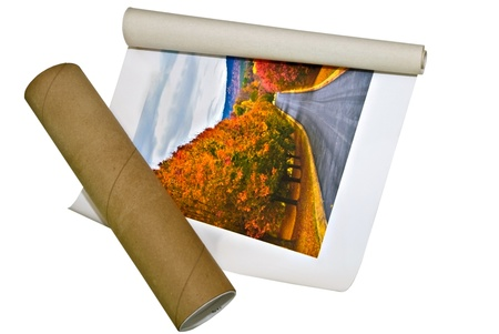 print media: A canvas picture with the cardboard mailing tube on white background. Stock Photo