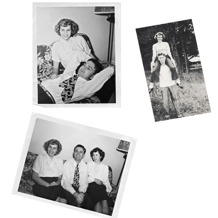 family photo: Collage of original photos from the 1940s.
